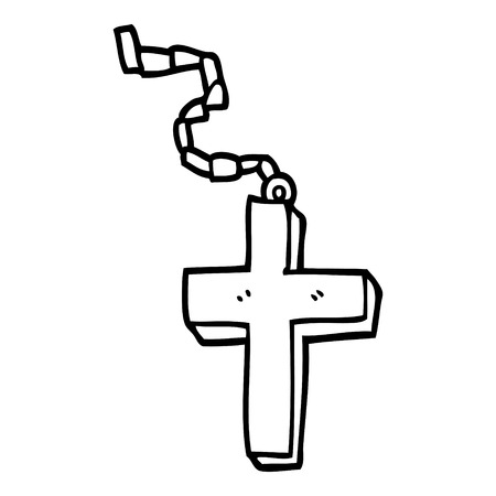 line drawing cartoon metal cross Ilustração