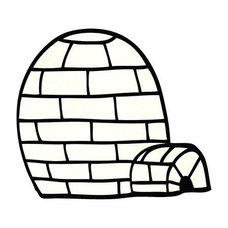 cartoon doodle ice igloo
