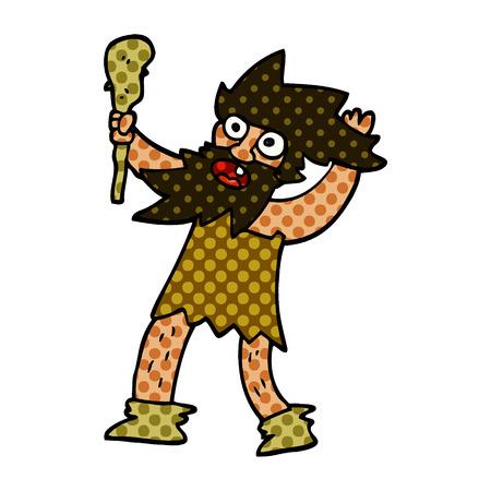 cartoon doodle cave man Illustration