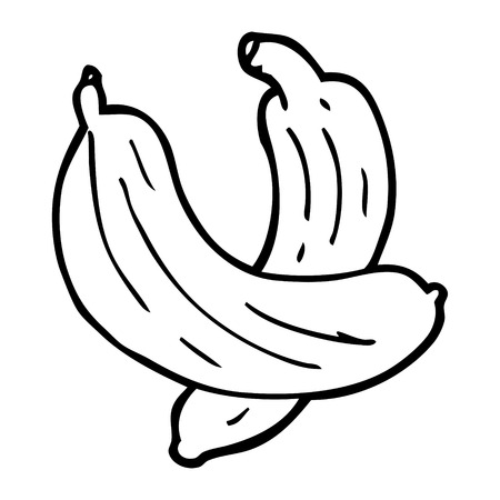 line drawing cartoon pair of  bananas