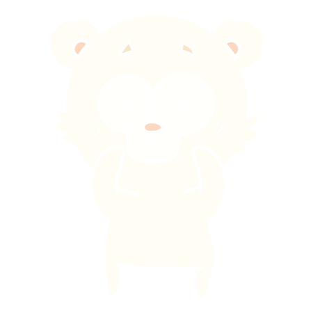 surprised polar bear flat color style cartoon