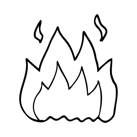 line drawing cartoon fire burning