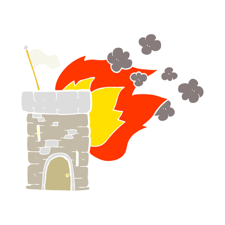 flat color illustration of burning castle tower