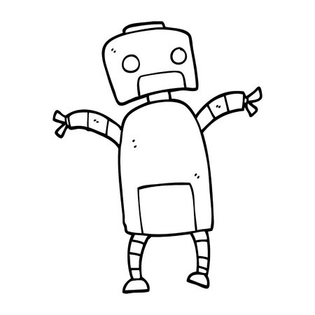 line drawing cartoon robot dancing Illustration
