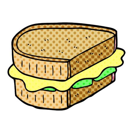 cartoon doodle toasted sandwich