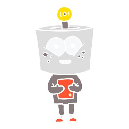 happy flat color style cartoon robot 일러스트
