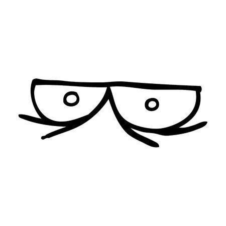 line drawing cartoon staring eyes