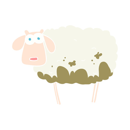 flat color illustration of muddy sheep