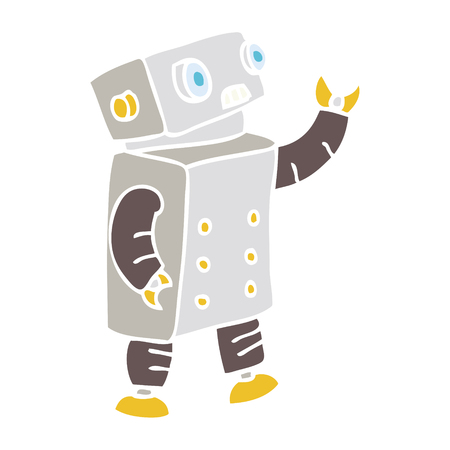 flat color style cartoon robot