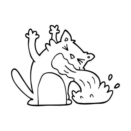 line drawing cartoon of an ill cat Ilustração