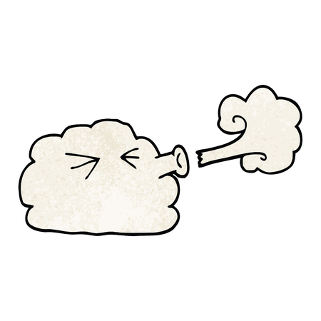 cartoon doodle cloud blowing a gale