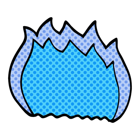 cartoon doodle blue flame