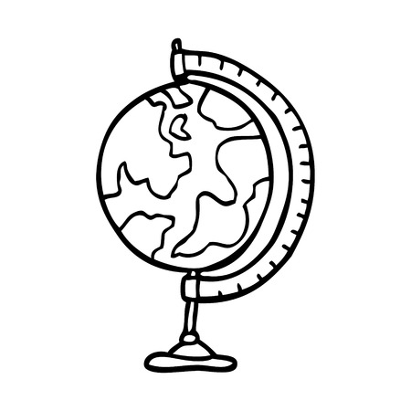 line drawing cartoon of a world globe