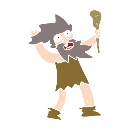 cartoon doodle crazy caveman Stock Illustratie