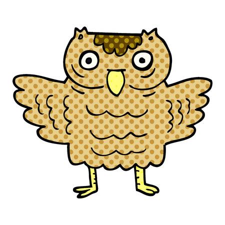 cartoon doodle funny owl Stock Illustratie
