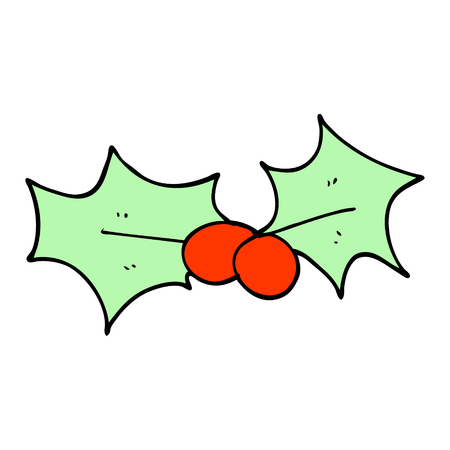 cartoon doodle holly leaf Ilustrace