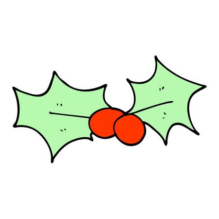 cartoon doodle holly leaf Illustration