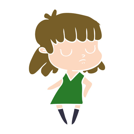 flat color style cartoon indifferent woman Illustration