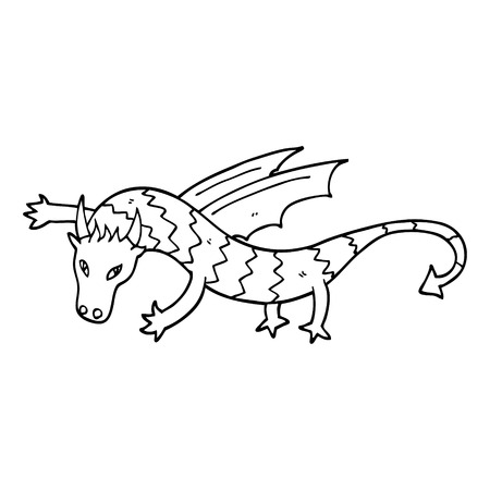 line drawing cartoon flying dragon Ilustração