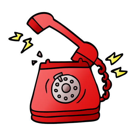 cartoon doodle old rotary dial telephone Stock Illustratie
