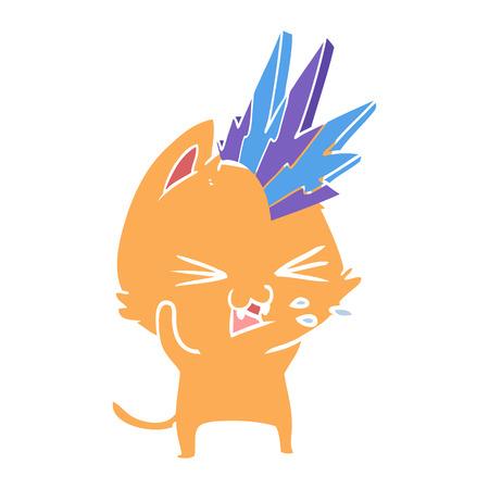 flat color style cartoon punk rock cat hissing 스톡 콘텐츠 - 110616201