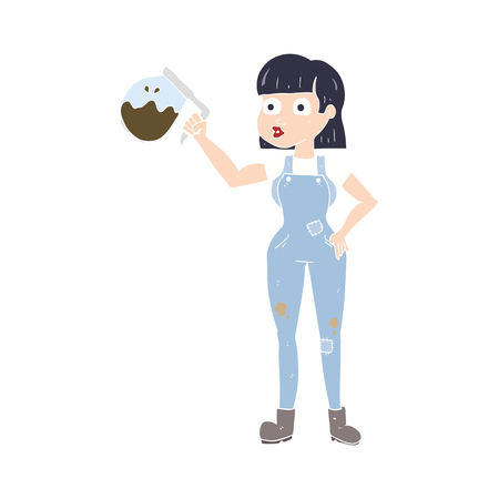 flat color illustration of woman in dungarees with coffee