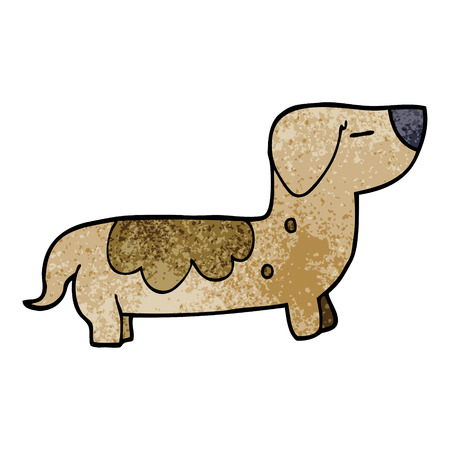 cartoon doodle sausage dog Illustration