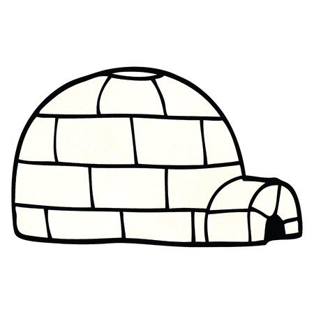 cartoon doodle ice igloo