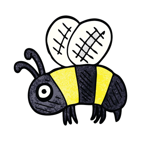 cartoon doodle anxious bee Stock Illustratie
