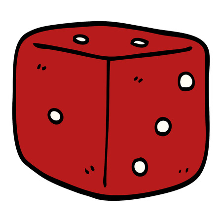 cartoon doodle red dice