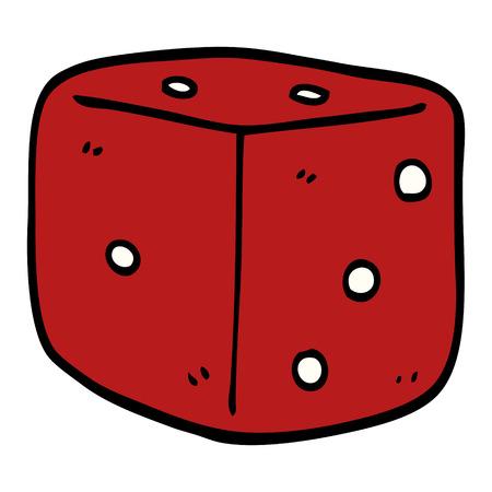 cartoon doodle red dice