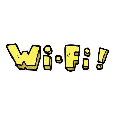cartoon doodle wording wi-fi Illusztráció