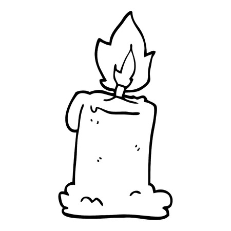 line drawing cartoon lit candle Ilustracja