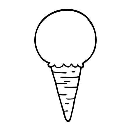 line drawing cartoon ice cream cone Foto de archivo - 110616163