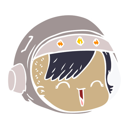 flat color style cartoon happy astronaut face
