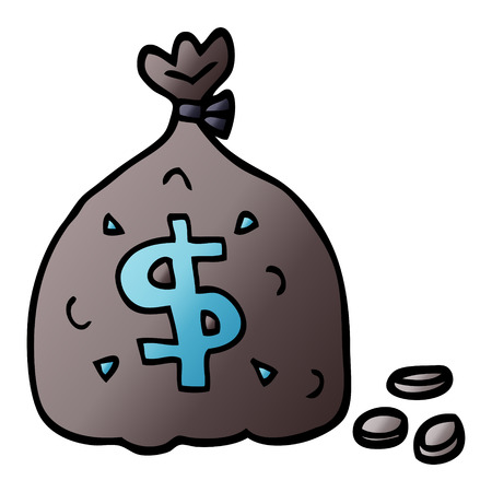 cartoon doodle bag of dollars