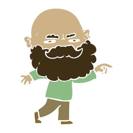 flat color style cartoon man with beard frowning and pointing