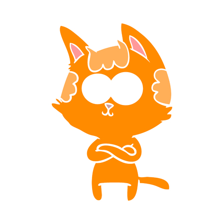 happy flat color style cartoon cat with crossed arms