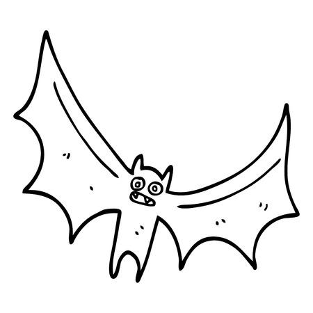 murciélago de dibujos animados de dibujo lineal