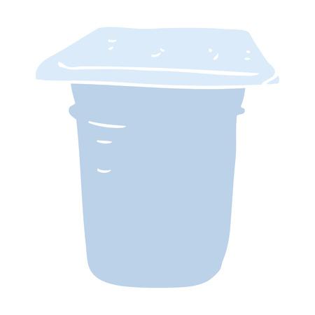 flat color illustration of yogurt pot Illustration