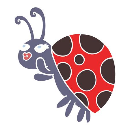 flat color style cartoon ladybug
