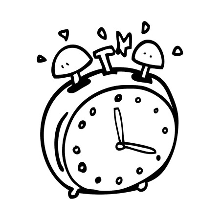 line drawing cartoon alram clock
