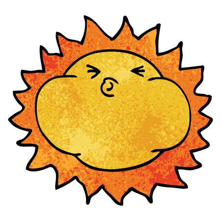 cartoon doodle shining sun