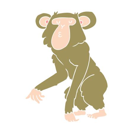 flat color style cartoon chimpanzee Illustration