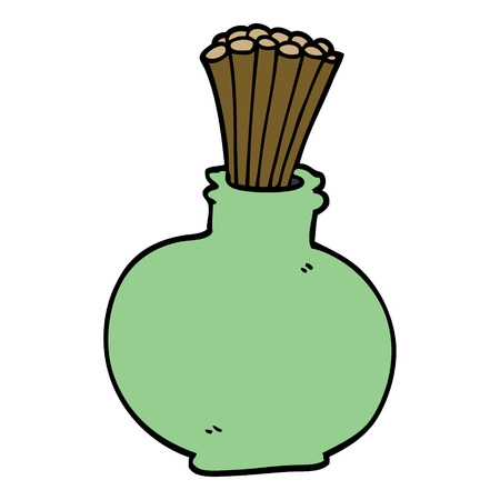 cartoon doodle reeds in vase Illustration