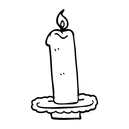 line drawing cartoon burning candle Ilustracja