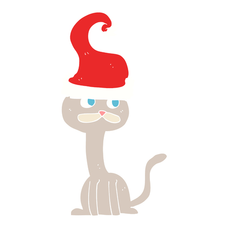 flat color illustration of cat wearing christmas hat