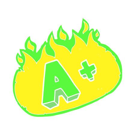 flat color illustration of A grade symbol Illustration