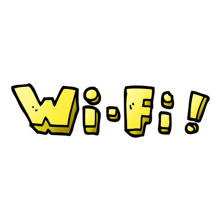 cartoon doodle wording wi-fi Illustration