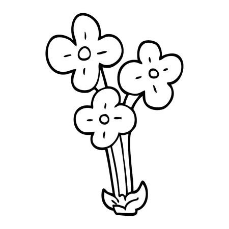 line drawing cartoon bunch of flowers